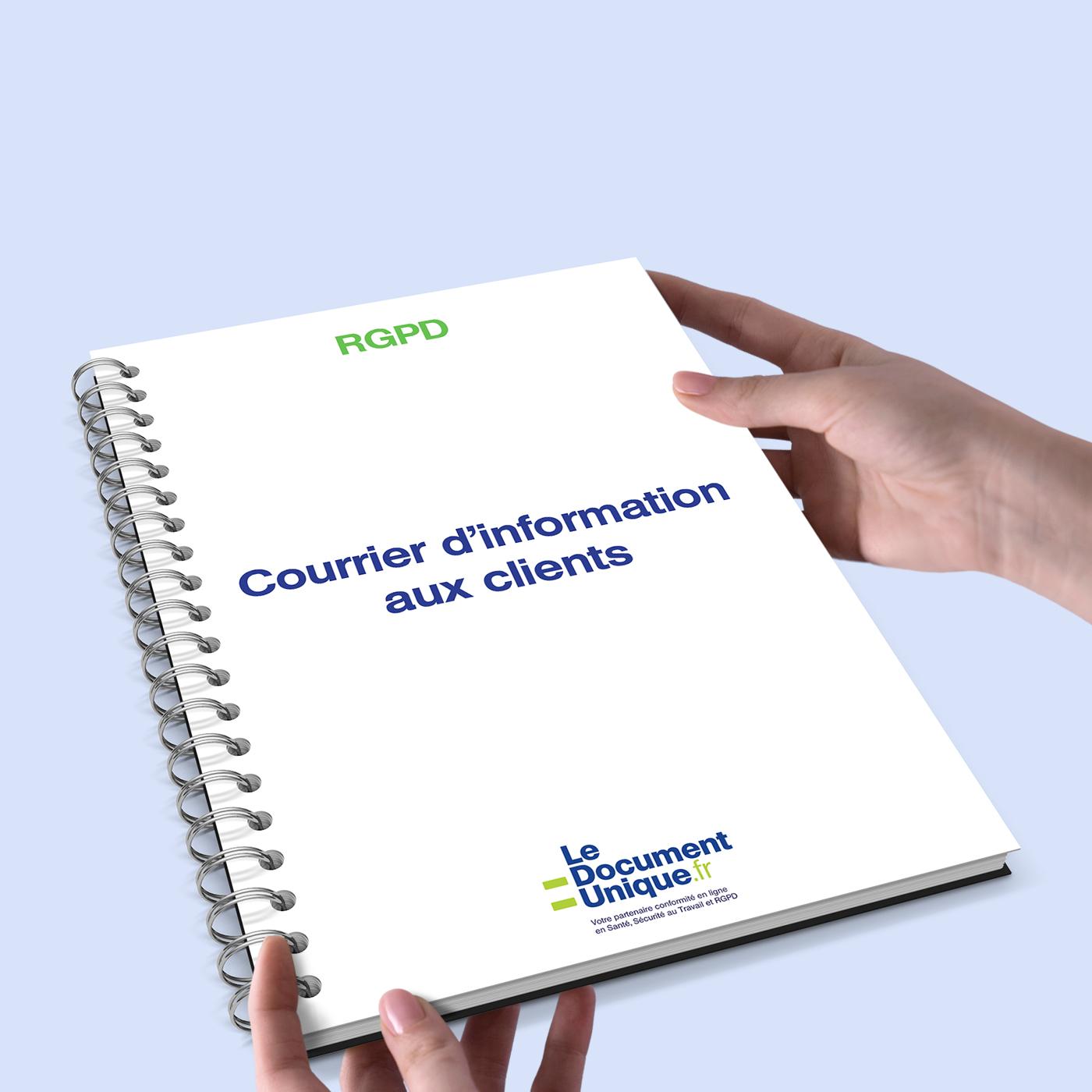 courrier d'information aux clients dans le cadre du rgpd